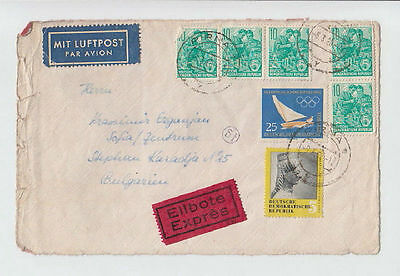 DEUTSCHE LUFTPOST GERMANY DDR BULGARIA 1960 FRONT COVER STAMPS SEAL AIRMAIL #11