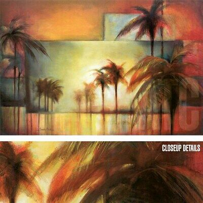 """36/""""x24/"""" TROPICAL REALM II by SANDY CLARK PALM TREES RECTANGLE PATTERNS CANVAS"""