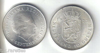 1973 Netherlands 10 Gulden Silver UNC Coin from a roll