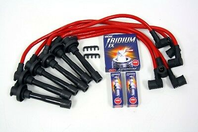 FOR 95-99 NISSAN SENTRA 10.2MM RACING SPARK WIRES NGK PLATINUM PLUGS KIT RED