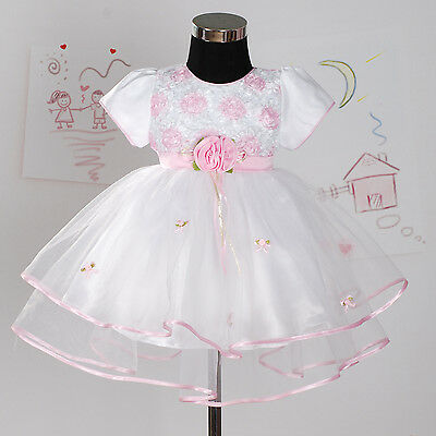 New Christening Wedding Party Pageant Dress in Pink,White,Lilac 0-18 Months