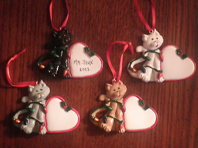 Personalized Cat Heart with Lights Christmas Ornament