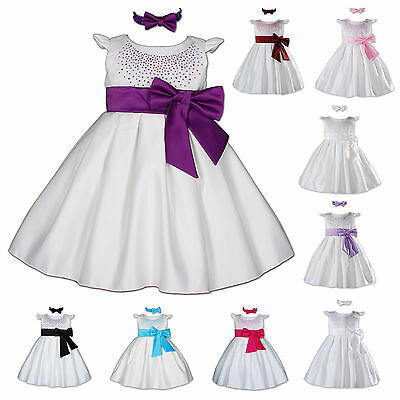 New Baby Satin Christening Party Dress with Matching Headband 0-3 to 18-24 Month
