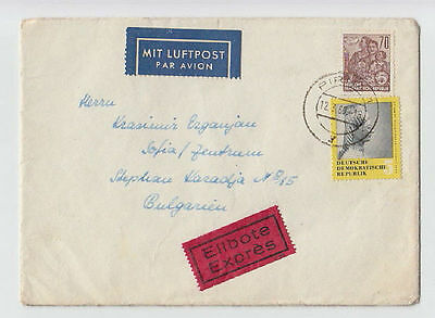 DEUTSCHE LUFTPOST GERMANY DDR TO BULGARIA 1960 COVER STAMPS SEAL AIRMAIL #31