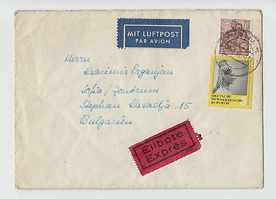 EXPRESS LUFTPOST GERMANY DDR TO BULGARIA 1960 COVER STAMPS SEAL AIRMAIL #32