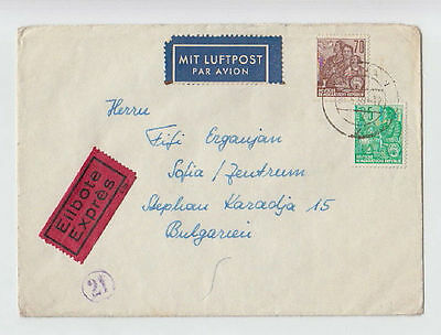 EXPRESS LUFTPOST GERMANY DDR TO BULGARIA 1960 COVER STAMPS SEAL AIRMAIL #34