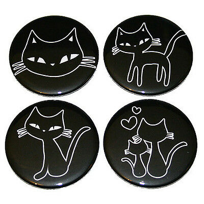 Cute Cats FRIDGE MAGNETS Set 4pc black and white drawing cat kitten magnet