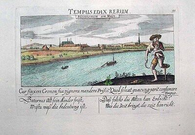 1627 Meisner Rüsselsheim am Main Panoramic Town View, Fortress, River Scene