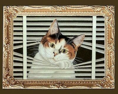 CALICO CAT IN TROUBLE Miniature Dollhouse Picture - MADE IN USA. FAST DELIVERY