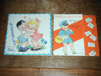 (2) Square Vintage 1930s Valentine's Day Cards Used