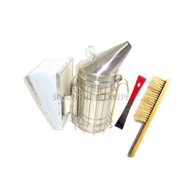 [UK] Beekeeping Tool Package: Stainless Steel Smoker, Red Hive Tool & Bee Brush