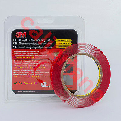 3M 1/4in x 15ft VHB Heavy Duty Mounting Clear Adhesive Tape 49106 thick 1 mm