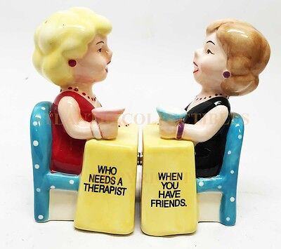 Who Needs A Therapist ? Friends Attractives Ceramic Magnetic Salt Pepper Shakers