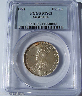 1921(m) Australian Florin. Nice UNCIRCULATED example and PCGS MS 62 graded
