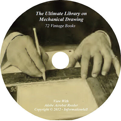 72 Books on DVD, Ultimate Library on Mechanical Drawing, Drafting Machine Draw