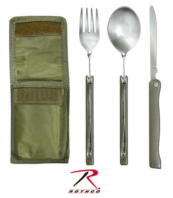 New Camping Hiking Military Fold-Out Chow Utensil Kit w/ Storage Carry Pouch