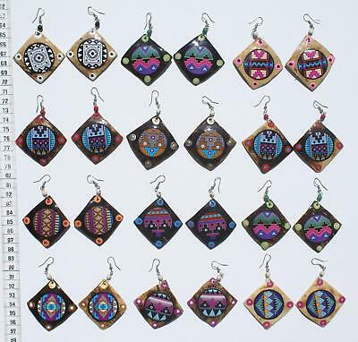 Lot 6 Pairs Coconut Earrings Color Ethnic Pictures Ornament Jewelry Wholesale