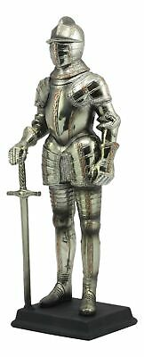 """Large 12.5""""H Medieval Suit of Armor Swordsman Knight Standing Guard Statue Decor"""