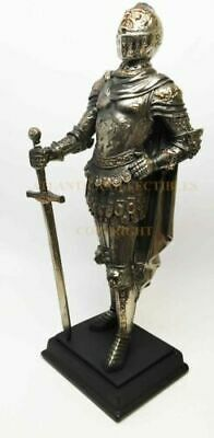 "Large 12"" Medieval Knight Statue Figurine Caped General Commander Suit Of Armor"