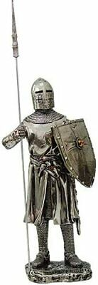 "Medieval Knight 7""H Crusader Pikeman Guarding Statue Figurine Suit Of Armor"