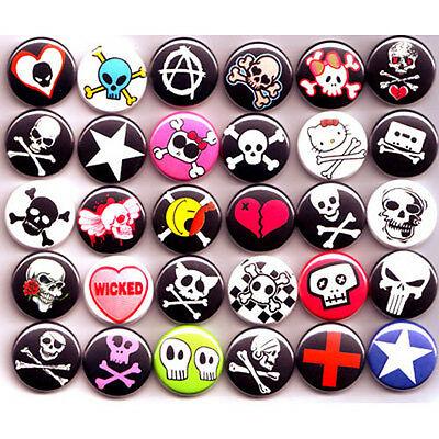 """PUNK EMO SKULLS BADGES Lot x 30 Buttons Pins Wholesale 25mm One Inch 1"""""""