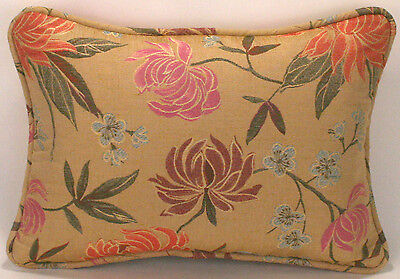 "1  11"" by 16"" Garden Park Gold Floral Designer Throw Pillow"
