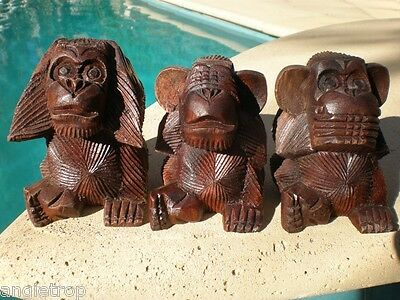 3 Three Wise Monkeys Carved Hard Wood Statue /Ornaments Bali Carving Balinese