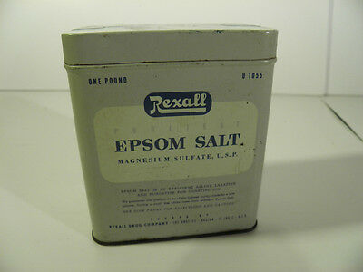 VTG Antique REXALL Drug Co. TIN Puretest Epsom Salt Collectible Collectible