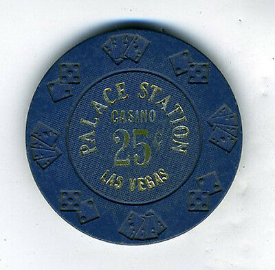 Old 25 cent Poker Chip Blue Palace Station Casino Las Vegas NV