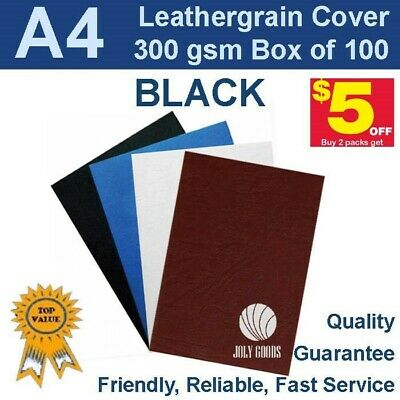 New A4 Leathergrain Binding Covers/Backing 300gsm - BLACK (PK 100)