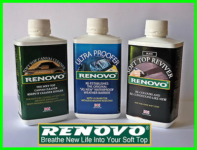 "Renovo""BLACK""Reviver Kit, Soft top Canvas Cleaner, Reviver, Ultra Proofer 500ml"