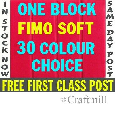 ONE Block FIMO SOFT Polymer Clay - FREE 1ST CLASS POST- Pick from 24 colours