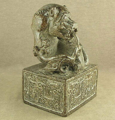 WITH CARVED DRAGON TOTEM IN CHINESE OLD JADE LARGE DRAGON OFFICIAL SEAL