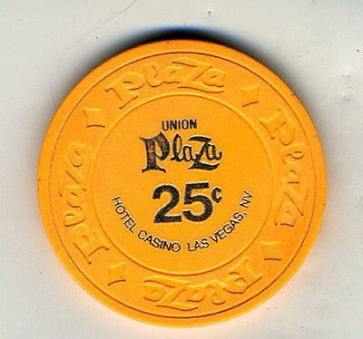 Old 25 Cent Poker Chip Union Plaza Hotel & Casino Las Vegas NV