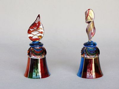"""One 5"""" Collectible Murano Glass bell blown glass swirly handle NEW"""