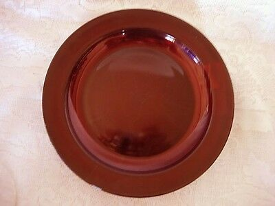 Vintage Ruby Red Glass Rimmed Dinner Plate - MORE AVAILABLE