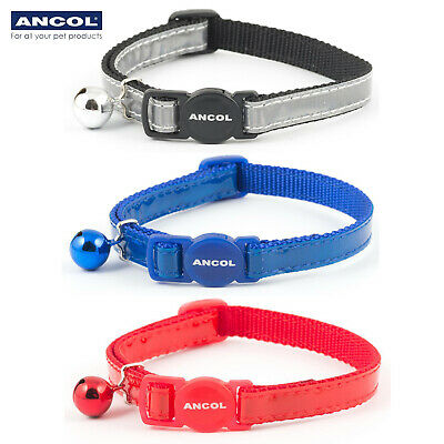 NEW Ancol Gloss Reflective Safety Cat Collar Red Blue Silver Warning Bell
