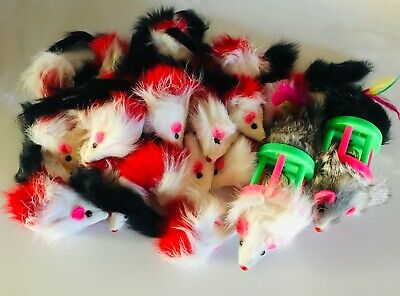 Cat Toy 32 Colorful Rattle Furry Mice Catnip Brand New