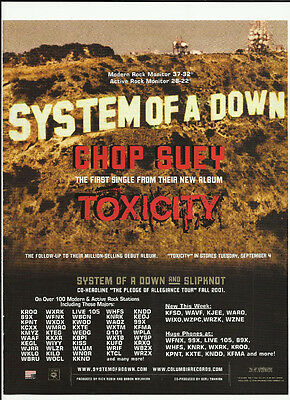 SYSTEM OF A DOWN Chop suey Trade AD POSTER for  Toxicity CD 2001 Serj Tankian