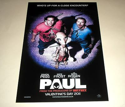 """Paul Cast X3 Pp Signed 12""""x8"""" Poster Simon Pegg & Frost"""