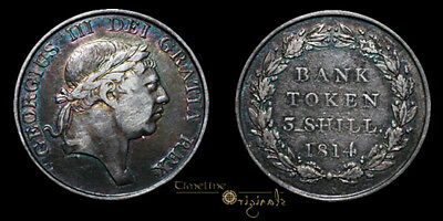 George Iii 1814 Milled Silver Three Shilling Bank Token Coin 023367