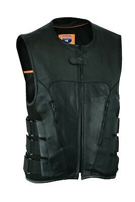 Bullet Proof style Leather Motorcycle Vest (Replica for Bikers)