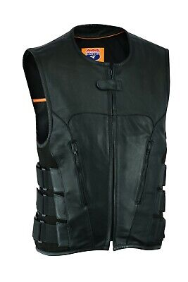 Men Bullet Proof style Leather Motorcycle Vest  for bikers Club Tactical Vest