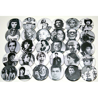 FAMOUS ICONIC FACES Lot of 30 BADGES Buttons Pins Bulk Wholesale 25mm One Inch