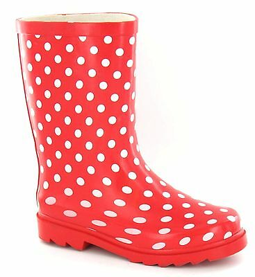 WHOLESALE Girls Red /White Wellingtons 12-5s 14 Pair X1118 RRP £14.99