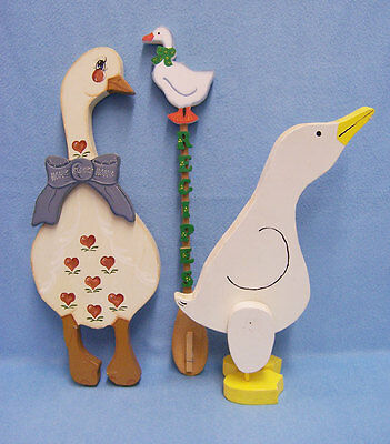 Lot of 3 Goose Decor Country Style Wooden Geese Handmade Crafts very cute