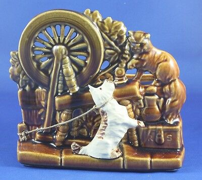 Vintage McCoy Spinning Wheel Planter with Scotty Dog Figurine and Cat Mint