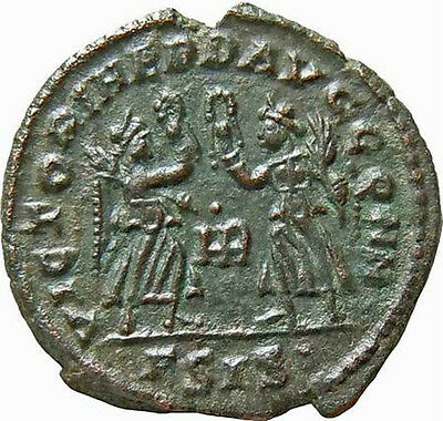 Constans AE Two Victories holding Wreath HR Authentic Ancient Roman Coin Rare