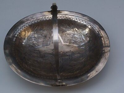 Imperial Russian Sterling Silver 84 Basket Bowl Moscow 1891 Engraved Handle Eo