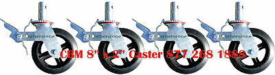 """Quality Set of 4 Scaffold 8"""" Rubber Caster Wheels Double Locks Double Brakes CBM"""